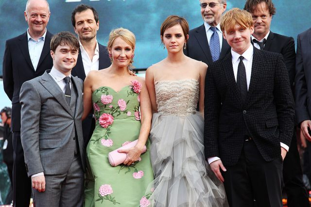 Daniel Radcliffe, J.K. Rowling, Emma Watson, and Rupert Grint at the premiere of 'Harry Potter and the Deathly Hallows Part II'
