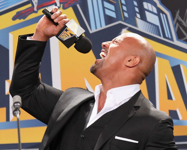 Dwayne Johnson at a press conference for Wrestle Mania XXIX