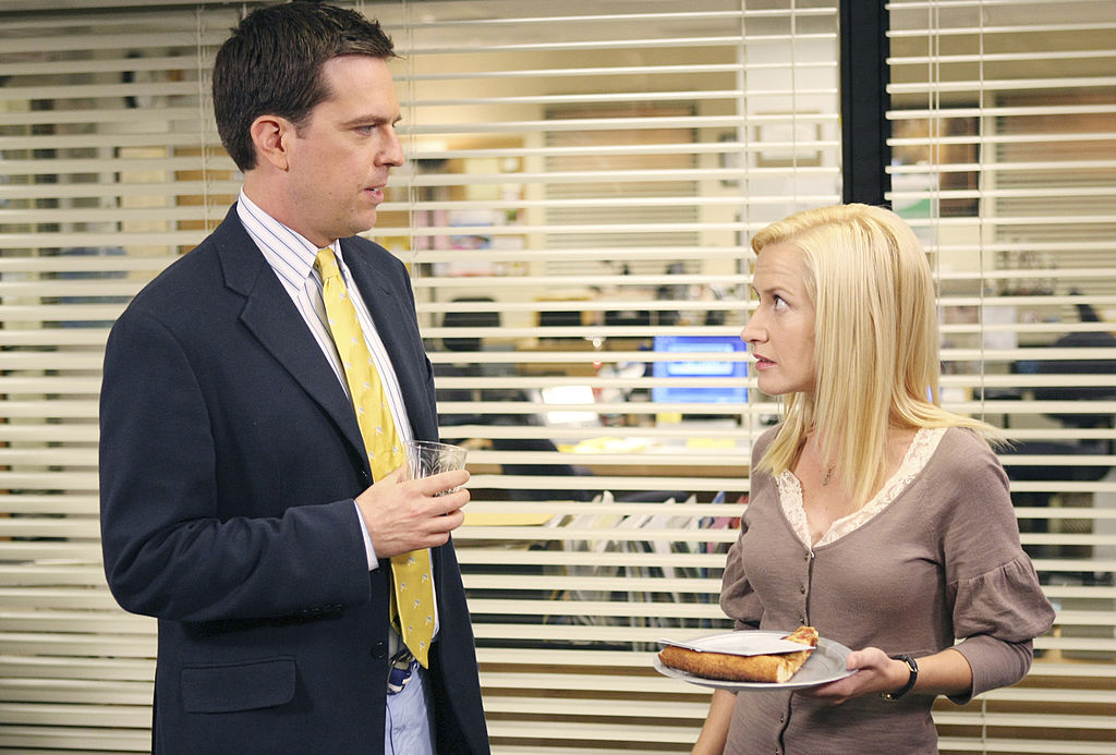 Ed Helms as Andy Bernard and Angela Kinsey as Angela Martin on 'The Office'