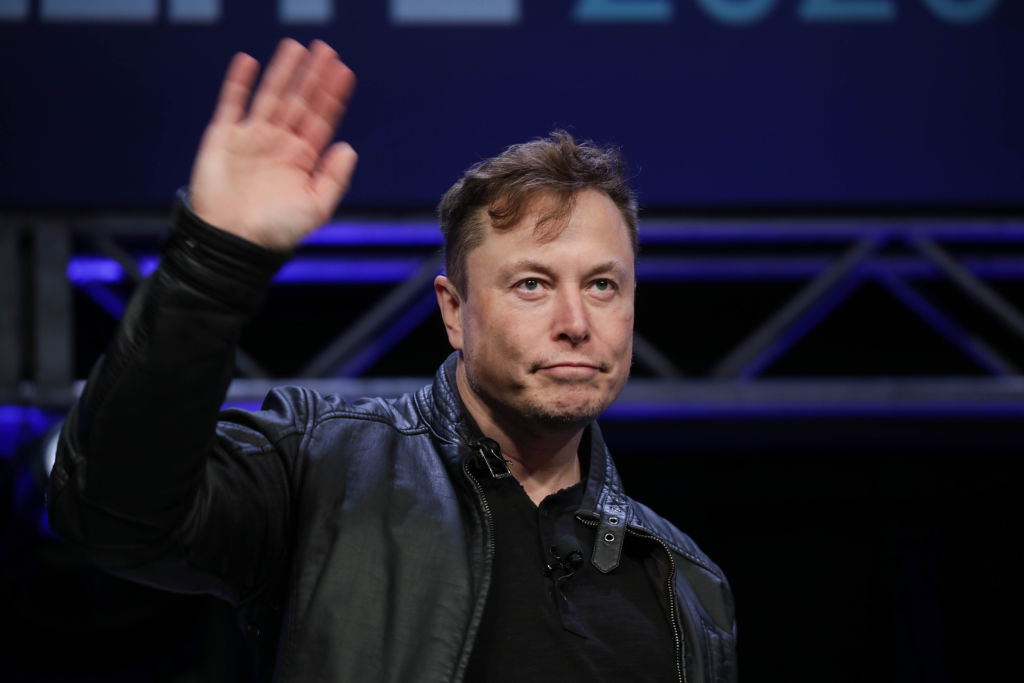 Elon Musk, Founder and Chief Engineer of SpaceX, attends the Satellite 2020 Conference