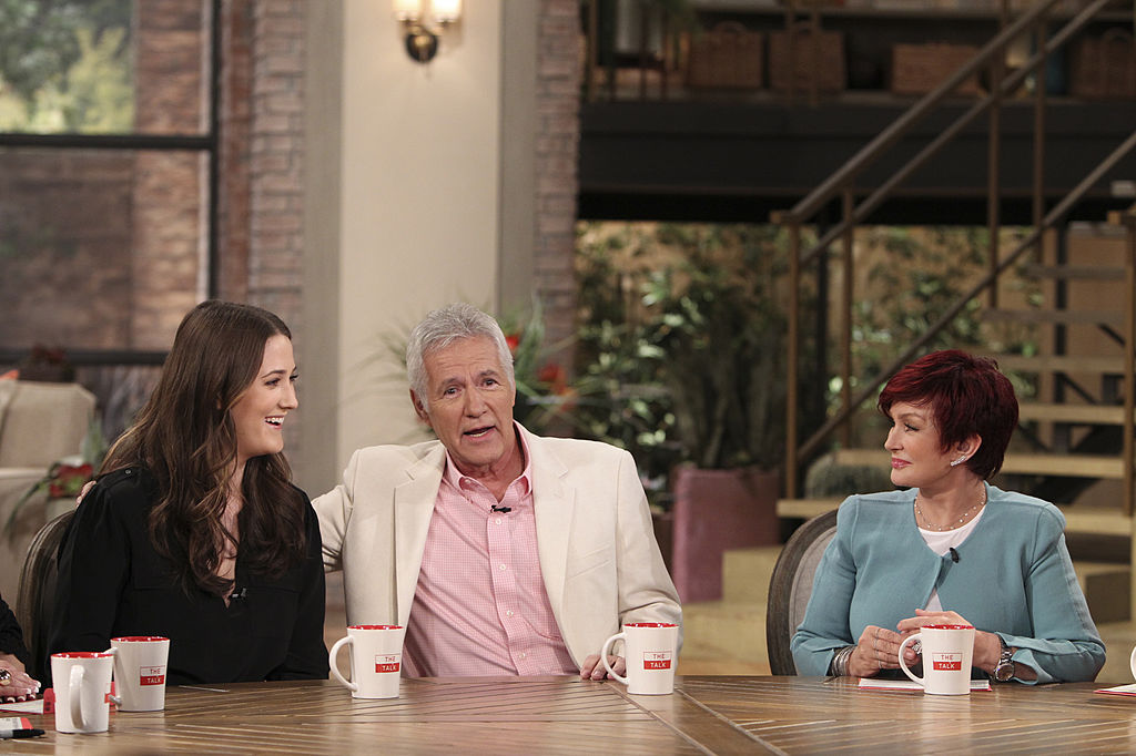 Emily Trebek and her father Alex Trebek with Sharon Osbourne on 'The Talk'