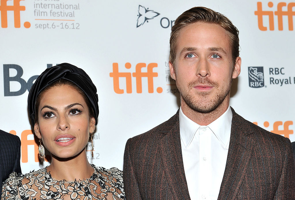 Eva Mendes and Ryan Gosling on the red carpet at a movie premiere in September 2012