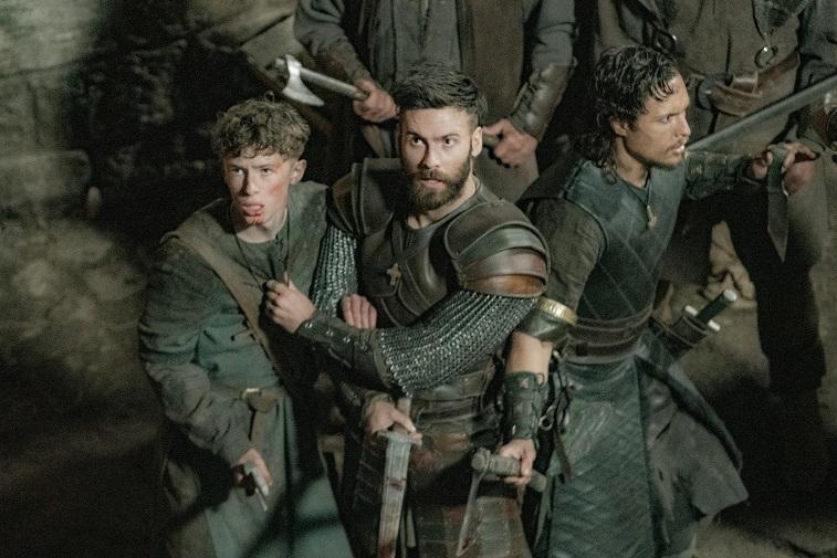 Finn Elliot, Mark Rowley, and Arnas Fedaravicius in 'The Last Kingdom'
