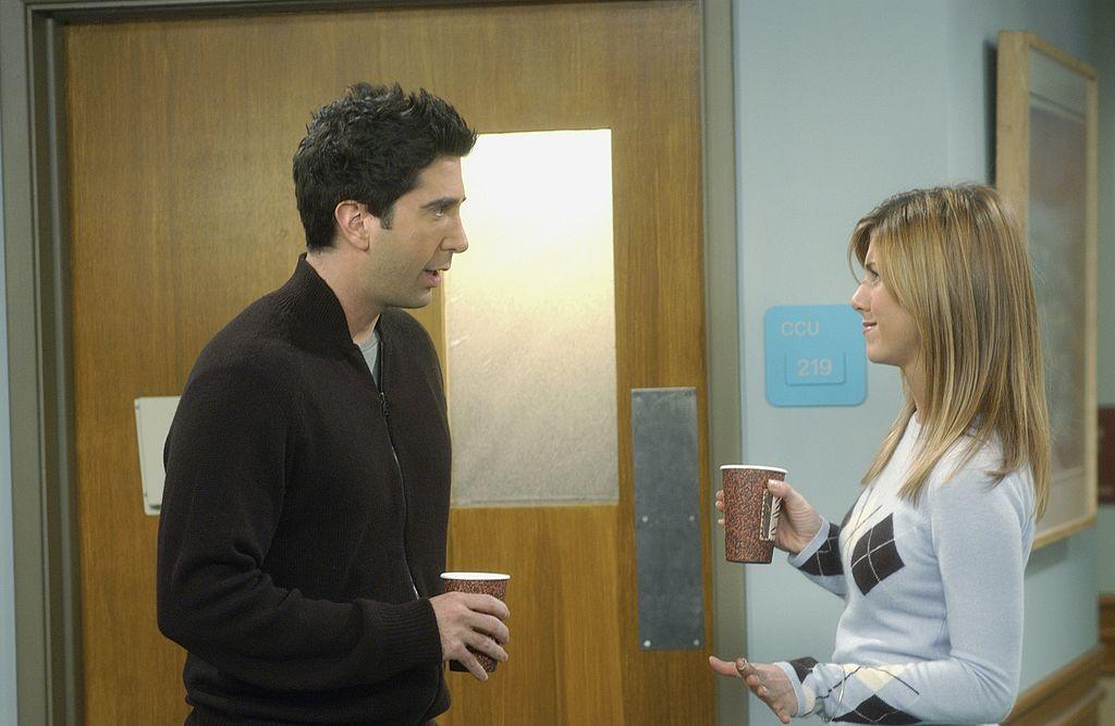 David Schwimmer as Dr. Ross Geller, Jennifer Aniston as Rachel Green on 'Friends'