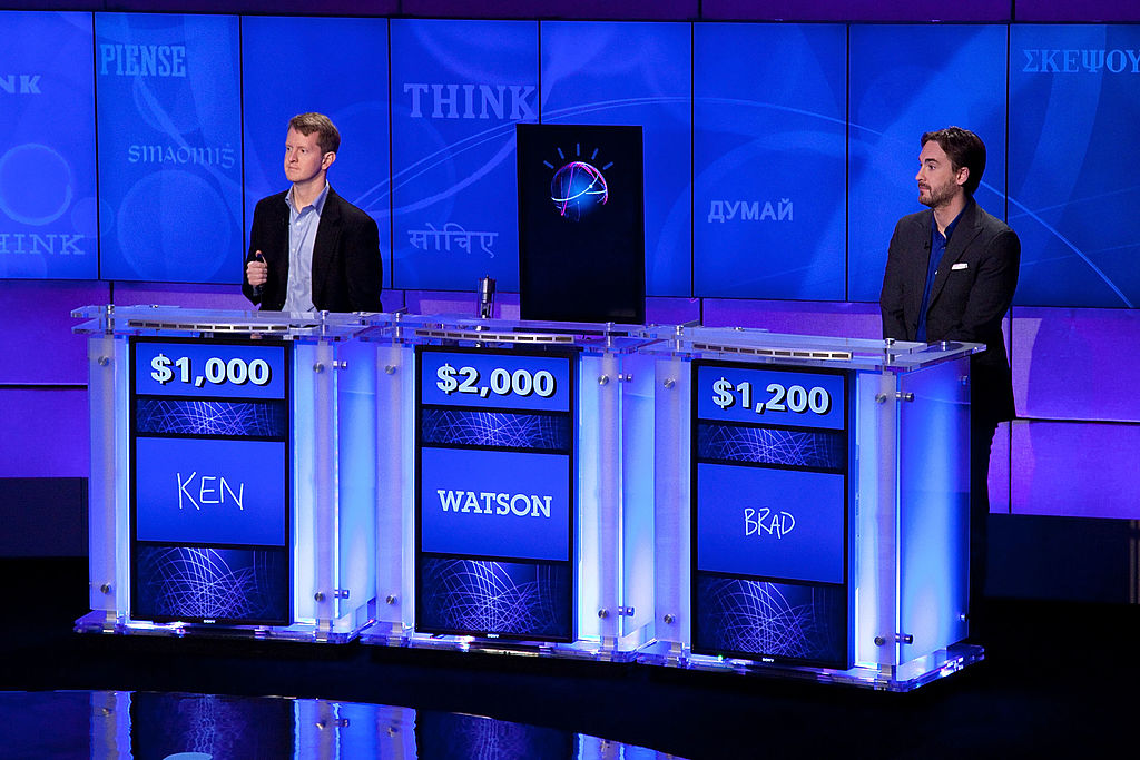 Ken Jennings and Brad Rutter competing against Watson on 'Jeopardy!' in 2011