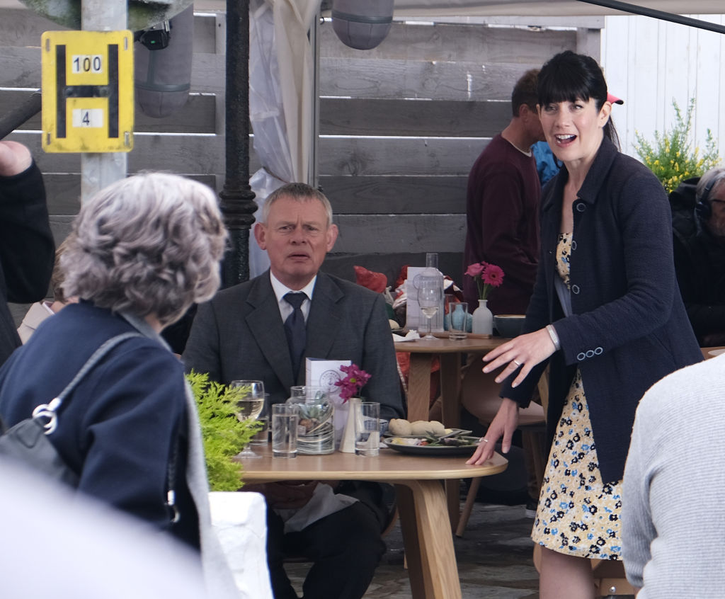 Martin Clunes and Caroline Catz filming 'Doc Martin'