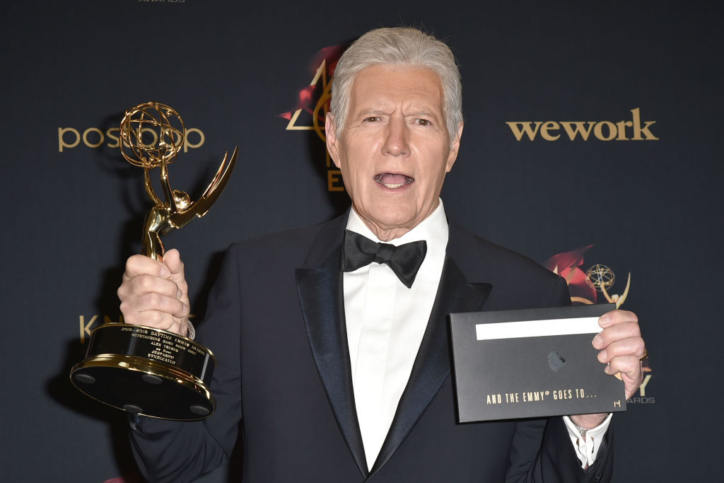 Alex Trebek, in 2019, winner of the  Outstanding Game Show Host award at the 46th Annual Daytime Emmy Awards