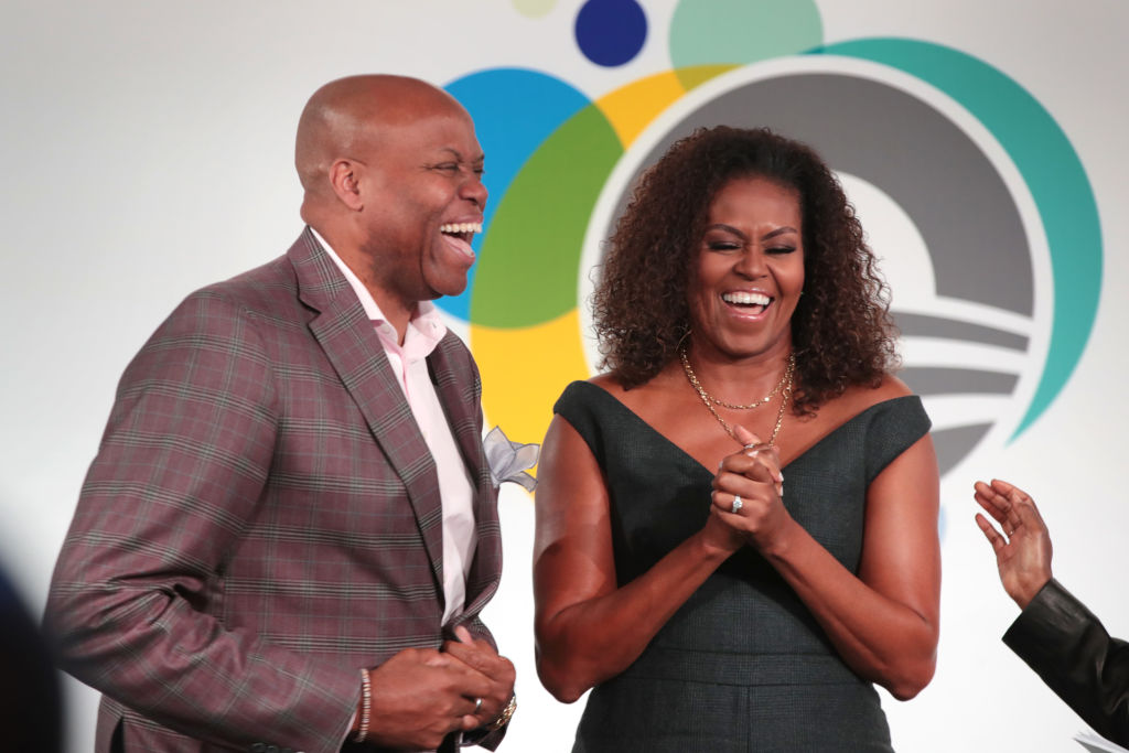 Craig Robinson with his sister, Michelle Obama