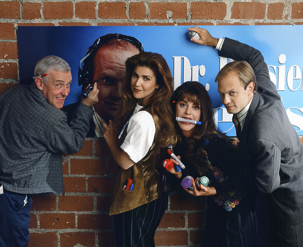 Peri Gilpin, second from left, with fellow 'Frasier' cast members John Mahoney, Jane Leeves, and David Hyde Pierce