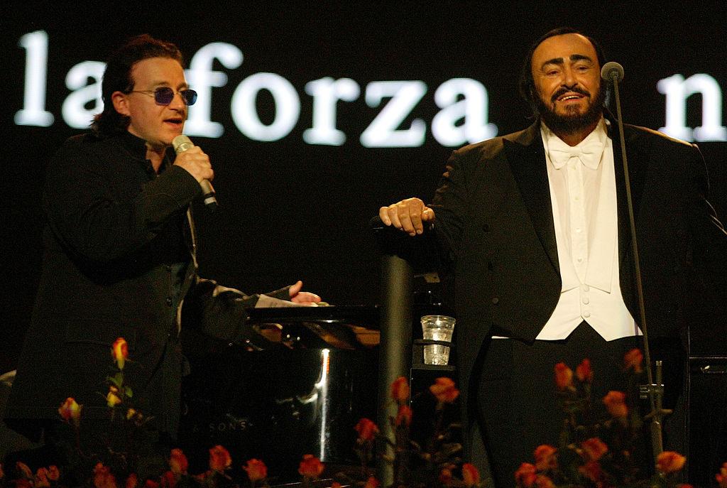 Luciano Pavarotti with Bono