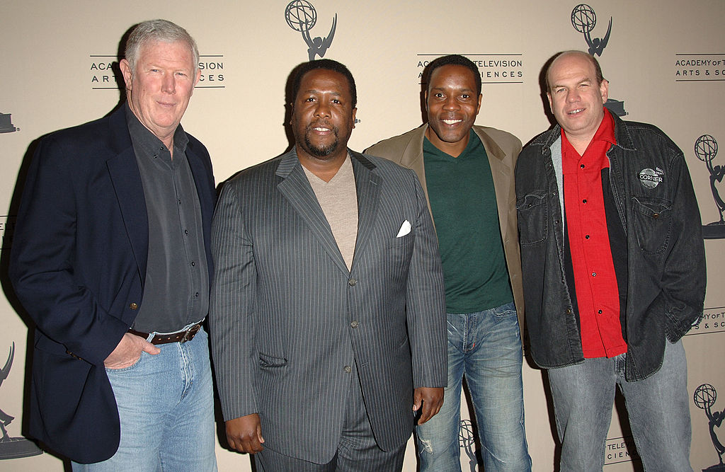 Producer Ed Burns, actor Wendell Pierce, actor Chad Coleman and executive producer David Simon