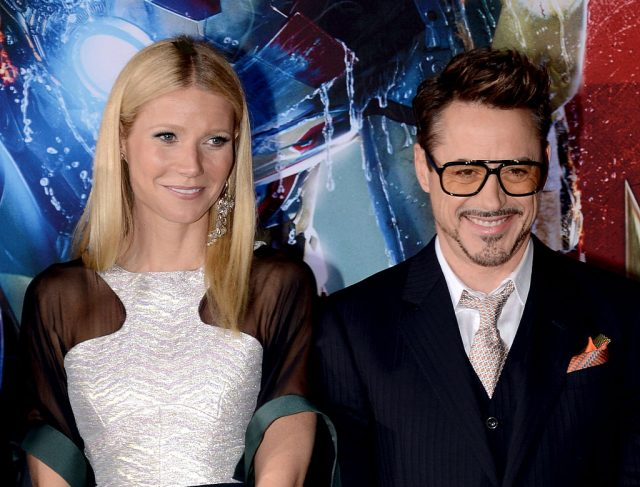 Gwyneth Paltrow and Robert Downey Jr. attend the premiere of 'Iron Man 3' in 2013