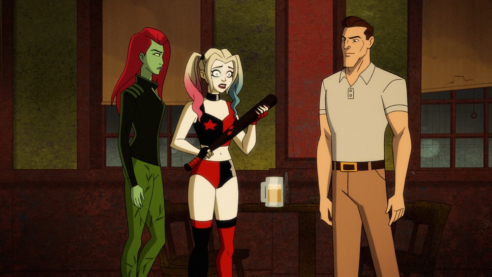 Harley Quinn and Poison Ivy talk to the new, non-evil Joker