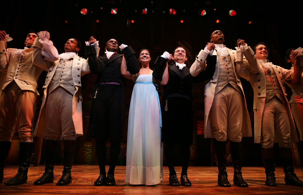 The cast of Lin-Manuel Miranda's 'Hamilton' takes a bow during a curtain call in Chicago