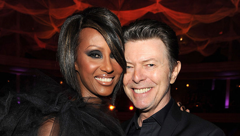 Iman and David Bowie at an event in October 2009