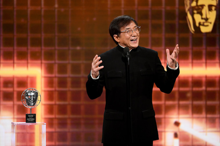 Jackie Chan speaks onstage