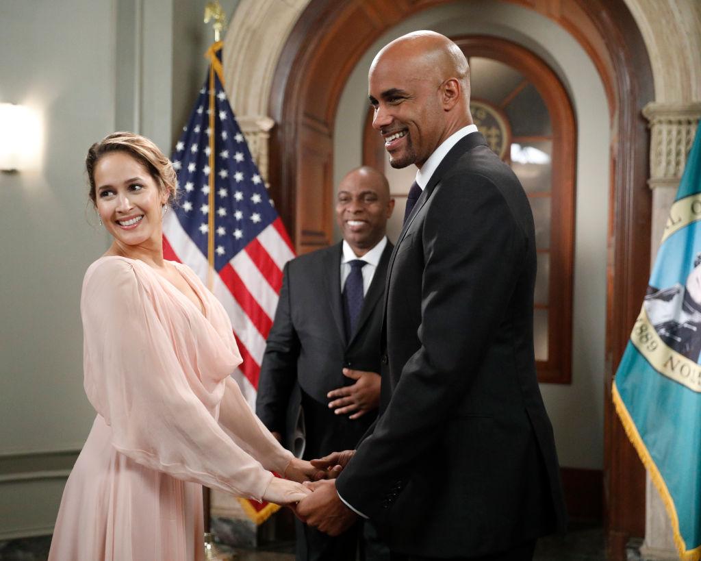"Jaina Lee Ortiz as Andy Herrera and Boris Kodjoe as Robert Sullivan on ABC's ""Station 19"" - Season 3"