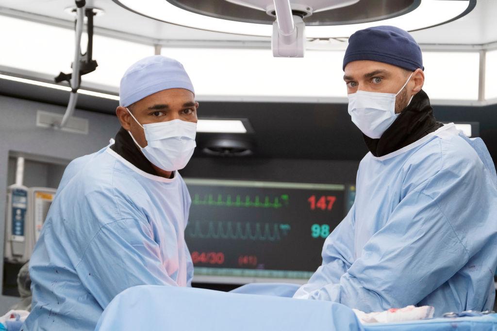 Jason George as Ben Warren and Jesse Williams as Jackson Avery on' Station 19' - Season 3 Episode 15