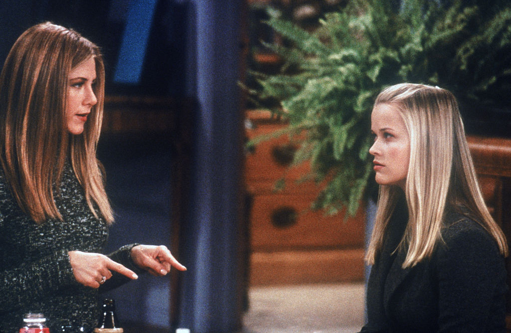 Jennifer Aniston as Rachel Green and Reese Witherspoon as Jill Green on 'Friends'