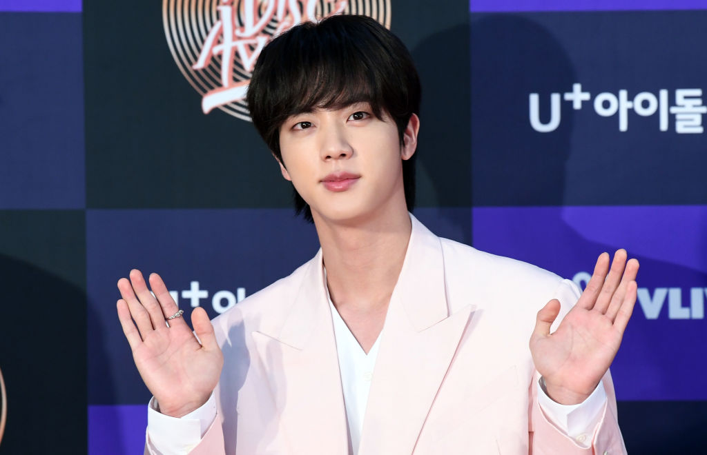 Jin of BTS arrives at the photo call for the 34th Golden Disc Award