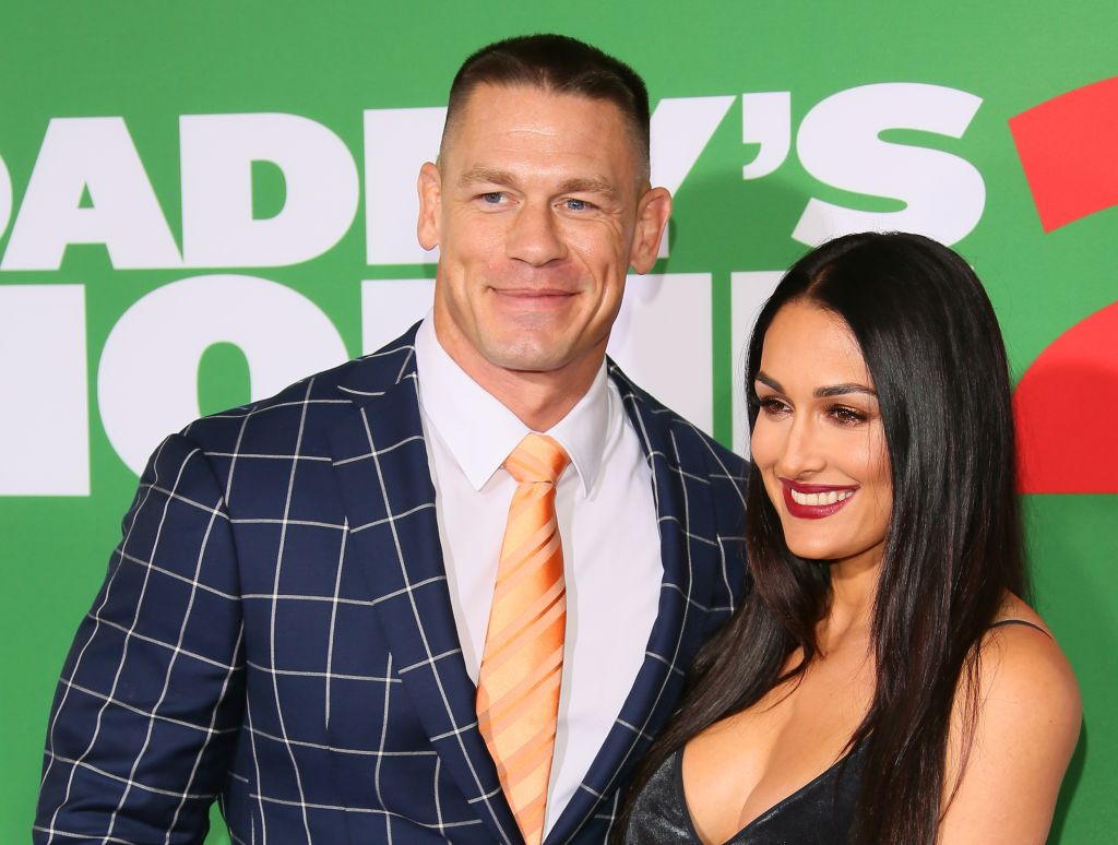 John Cena and Nikki Bella on the red carpet at a movie premiere in November 2017