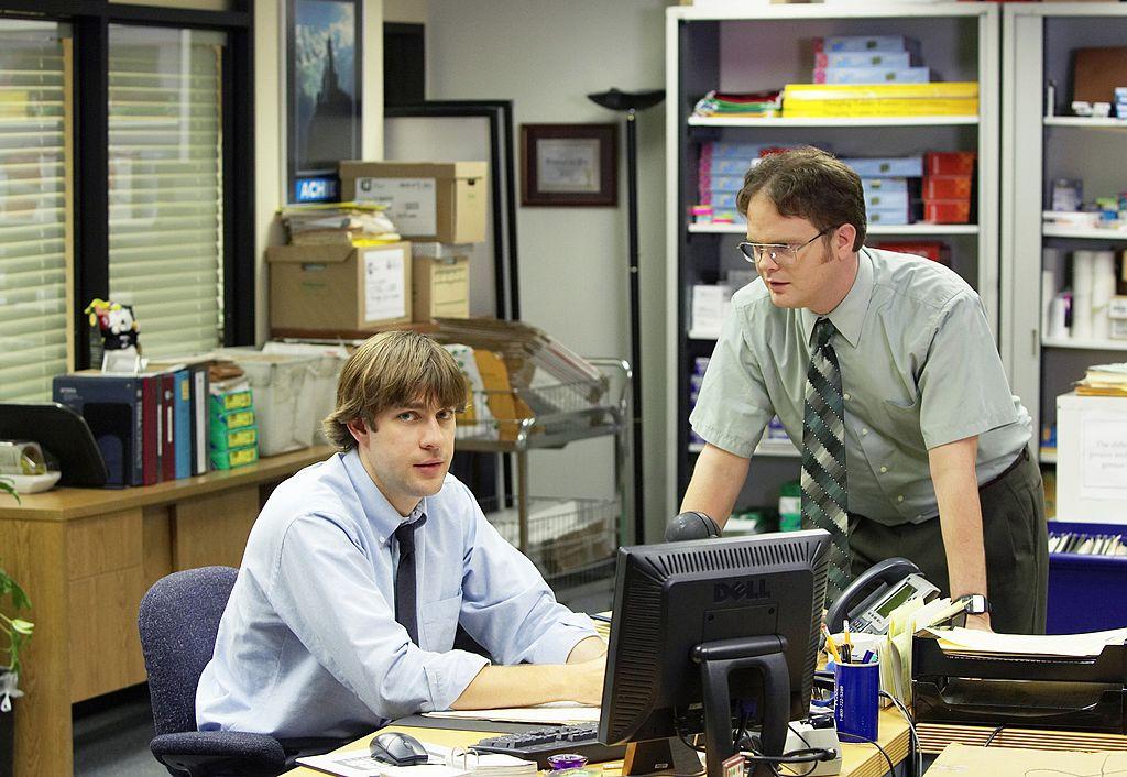 John Krasinski and Rainn Wilson as The Office characters Jim and Dwight