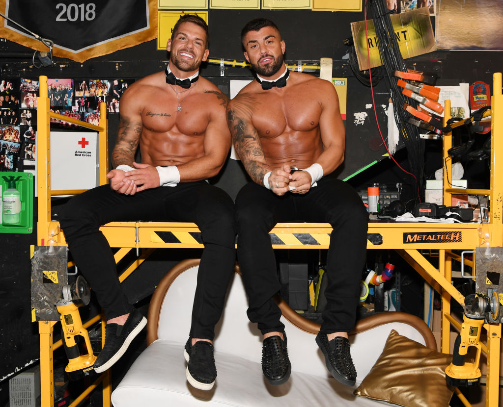 Joss Mooney and Rogan O'Connor backstage at Chippendales