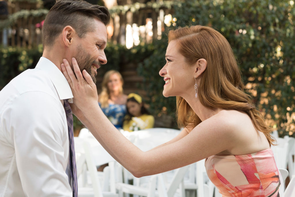 "Justin Bruening as Matthew and Sarah Drew as April on ABC's ""Grey's Anatomy"" - Season Fourteen"