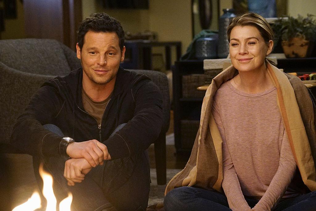 "Justin Chambers as Alex Karev and Ellen Pompeo as Meredith Grey on ABC's ""Grey's Anatomy"" - Season Twelve"