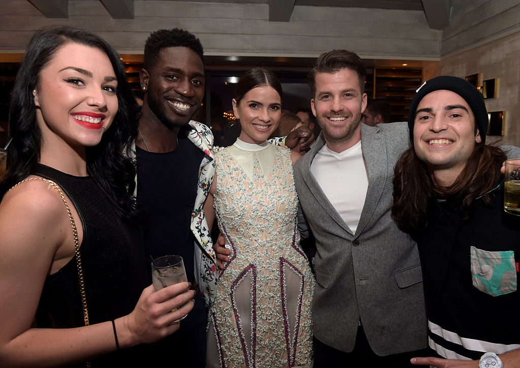 Kailah Casillas and Dean Bart-Plange, actress Shelley Hennig, and TV personalities Johnny Devenanzio and Dione Mariani attend the MTV Press Junket