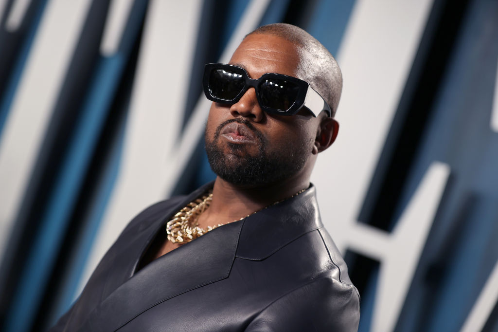 Kanye West at a party in February 2020