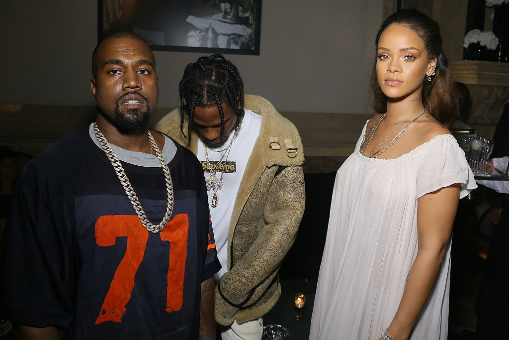 Kanye West, Travis Scott and Rihanna at a party in October 2015