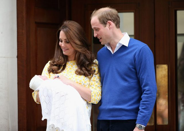 Kate Middleton and Prince William with newborn Princess Charlotte