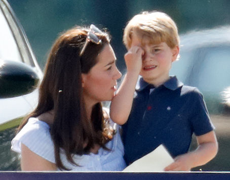 Kate Middleton consoles Prince George at a polo match, 2018