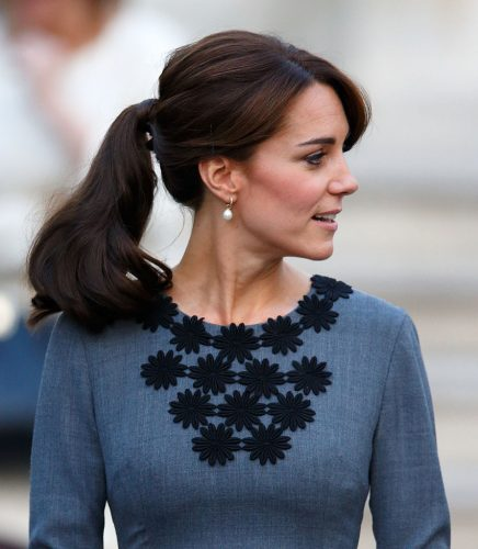 Kate Middleton wearing her hair in a ponytail