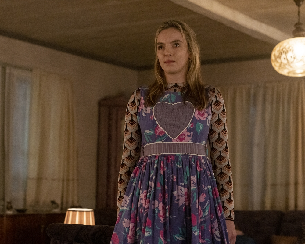 Jodie Comer as Villanelle when she visits her family in Russia in 'Killing Eve,' Season 3