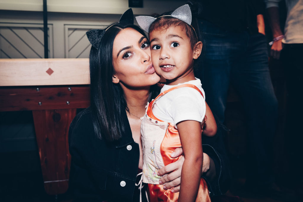 Kim Kardashian West and one of her kids, North West