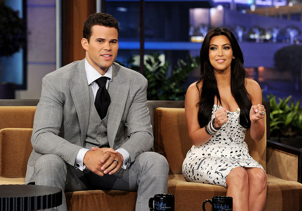NBA player Kris Humphries (L) and his [ex-] wife reality TV personality Kim Kardashian appear on the Tonight Show With Jay Leno