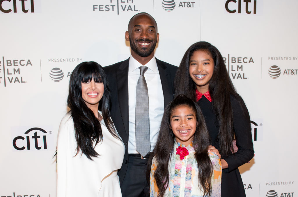 Vanessa Laine Bryant, Kobe Bryant, Gianna Maria-Onore Bryant, and Natalia Diamante Bryant on the red carpet at an event in April 2017