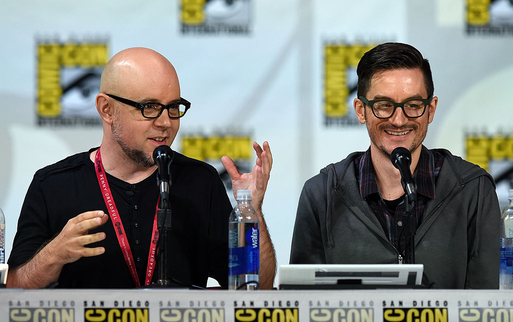 """Michael Dante DiMartino and Bryan Konietzko attend the Nickelodeon: """"Legend of Korra: Book 3"""" panel during Comic-Con International 2014 at the San Diego Convention Center on July 25, 2014 in San Diego, California."""