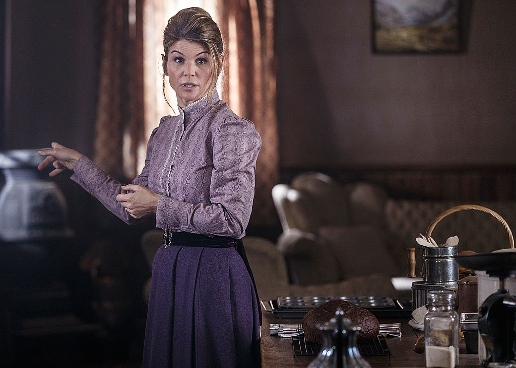 """Lori Loughlin filming a scene for the new TV series, """"When Calls the Heart"""""""