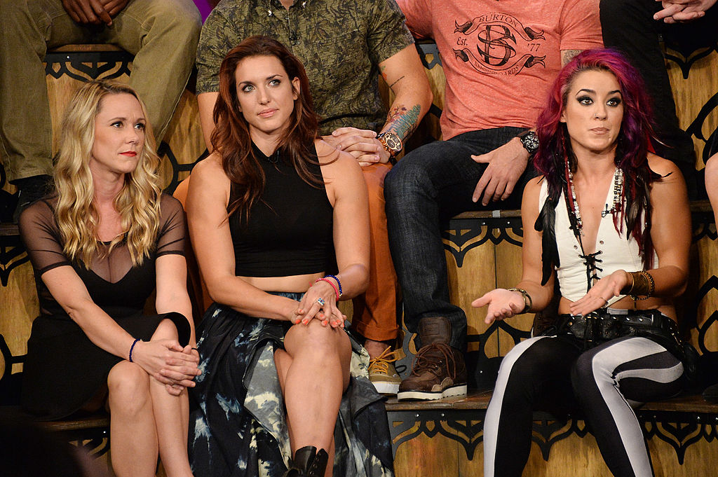 TV personalities Emily Schromm, Paula Meronekm, and Cara Maria Sorbello appear on MTV's 'The Challenge: Rivals II' final episode