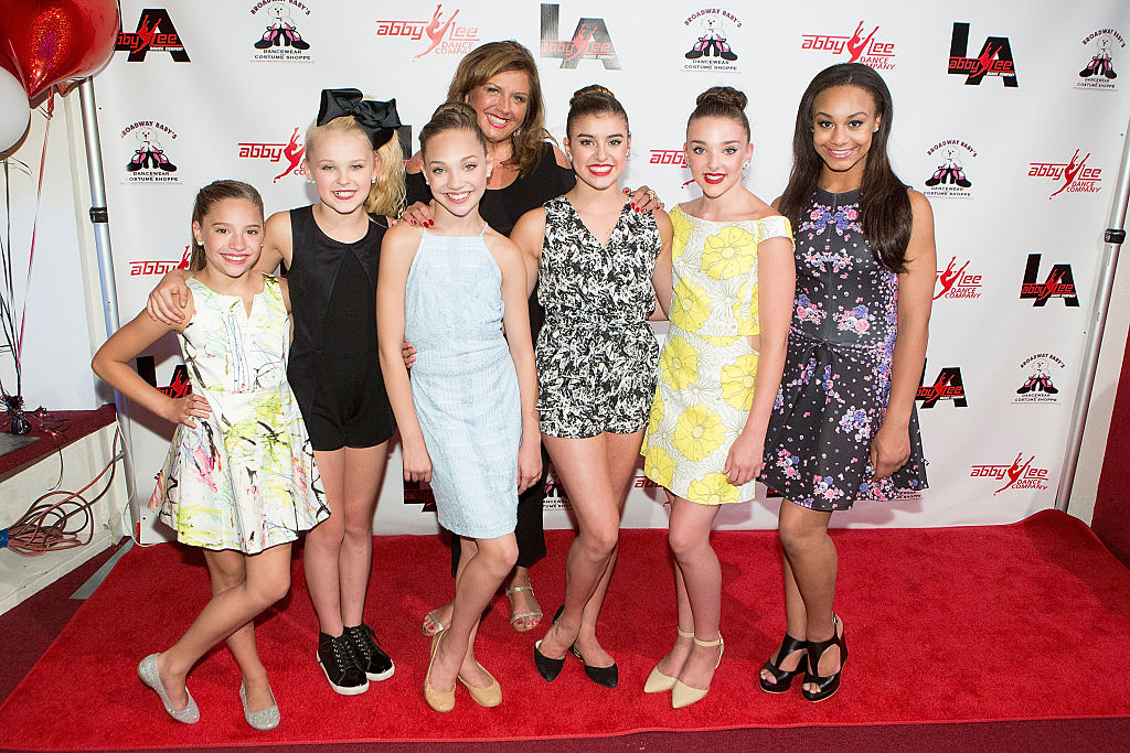 Dance Moms stars Mackenzie Ziegler, JoJo Siwa, Maddie Ziegler, Abby Lee Miller, Kalani Hilliker, Kendall Vertes, and Nia Frazier