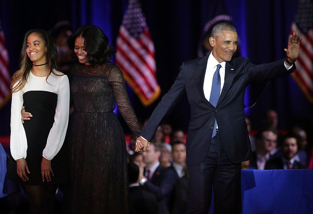 Malia, Michelle, and Barack Obama