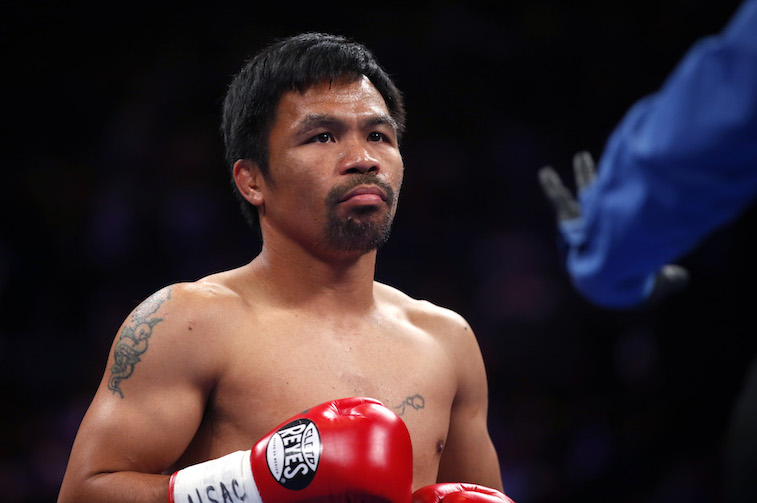 Manny Pacquiao gets ready for a fight