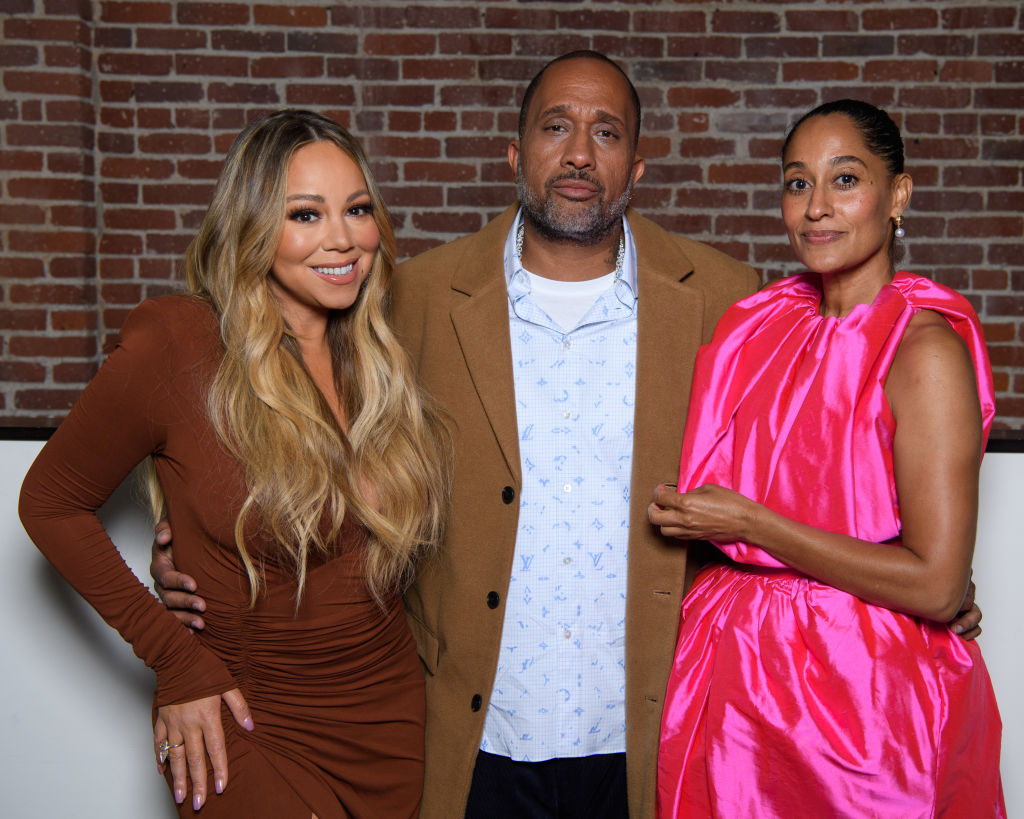 Kenya Barris and Tracee Ellis Ross with Mariah Carey