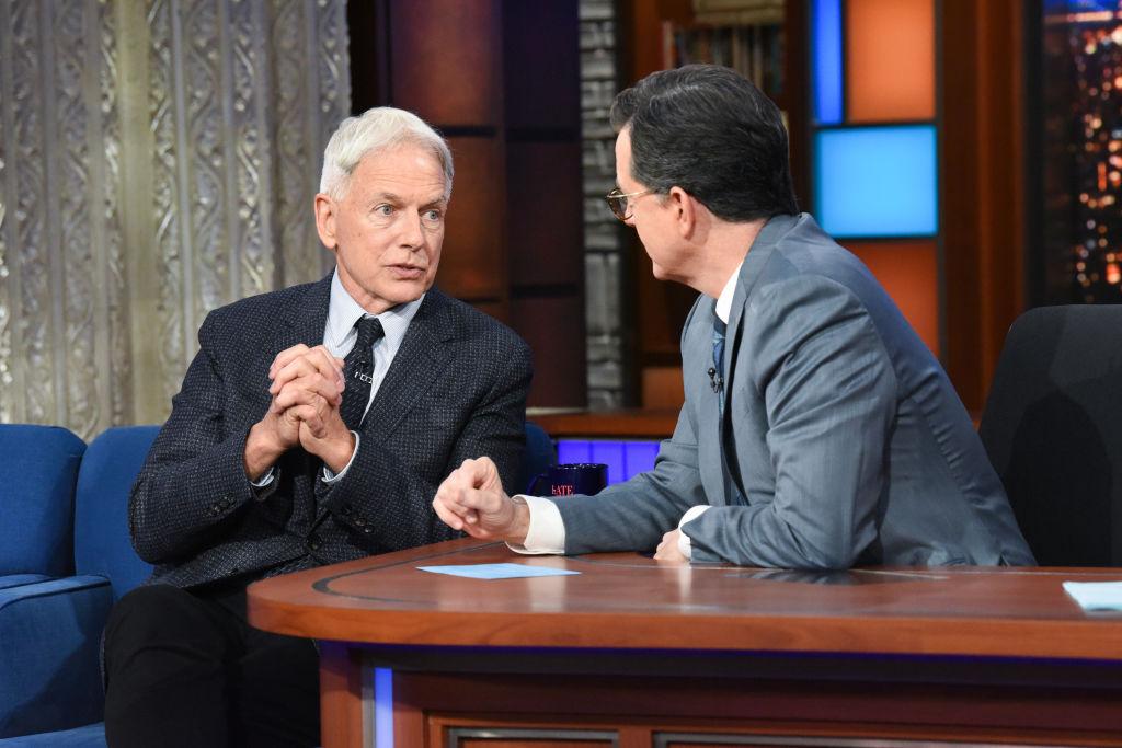 Mark Harmon and Stephen Colbert   Sonja Flemming/CBS via Getty Images