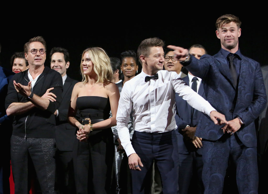 """Robert Downey Jr., Scarlett Johansson, Jeremy Renner, and Chris Hemsworth attend the Los Angeles World Premiere of Marvel Studios' """"Avengers: Endgame"""" at the Los Angeles Convention Center"""