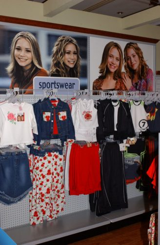 Mary-Kate and Ashley Walmart clothing collection display