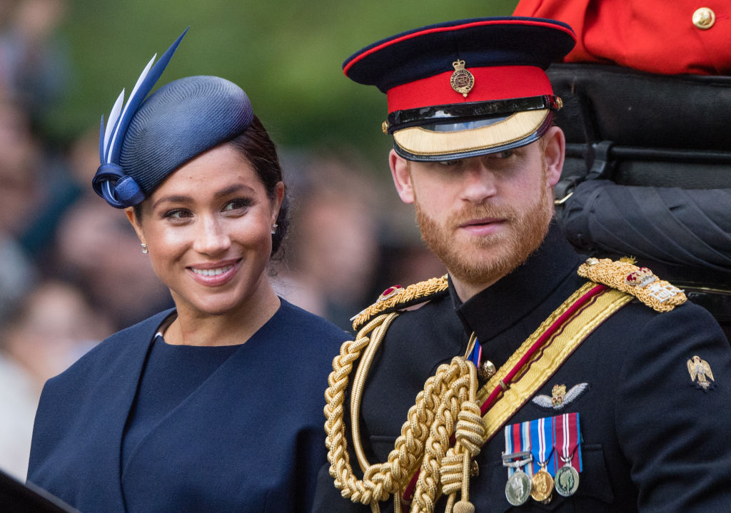 Prince Harry and Meghan Markle at a parade